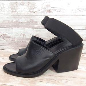 Helmut Lang black leather chunky heel mules